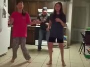 Dad Shows His Girls How To Dance