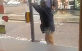 Man Vs A Traffic Light Pole, Who Wins?