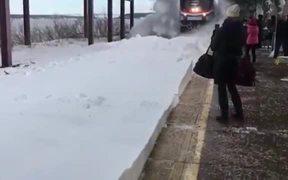 Amtrak Train On A Snowy Day