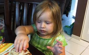 Little Girl Falls Asleep Eating Pizza
