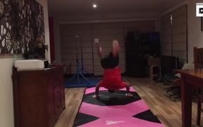 Dad Tries To Replicate Gymnastics Moves