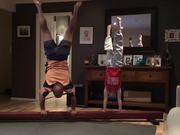 Dad Tries To Replicate Gymnastics Moves