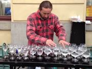 Street Musician Playing Water Glasses