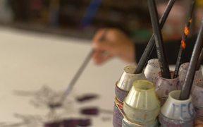 Rack Focus of Batik Painting Brushes