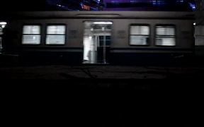 Train leaving a Train Station