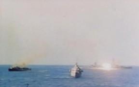 Iwo Jima - Ships Blast Iwo Jima