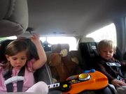 Singing Kids Freres and Jacques in the car