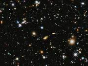 Zoom and pan of colourful view of the Universe