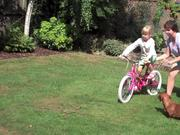 Hermione learns to ride a bike!