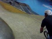 Riding Joyride150 indoor bike park in Markham