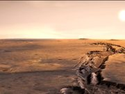 Flight over craters and canyons on Mars-3