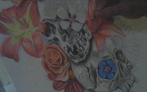 Skulls And Flowers Tattoo Design