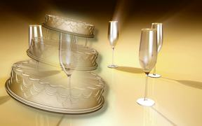 Wedding Cake and Champagne Glass Concept
