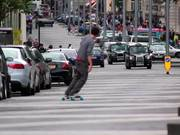 Skateboarding in the Road