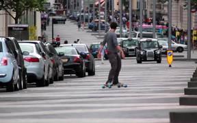 Skateboarding in the Road