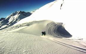 Snowboarding Off-Piste Slow Motion