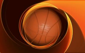 Spinning Basketball on Abstract Background