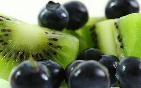 Kiwi Fruit and Blueberries in Macro View