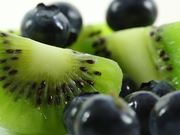 Kiwi Fruit and Blueberries in Macro View