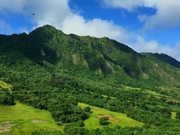 Helicopter Shot of Hawaiian Mountain Range