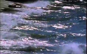 Waves Splashing Wooden Pier
