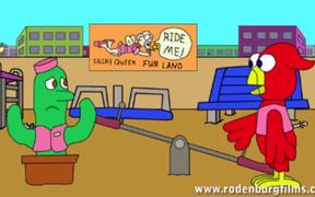 Space Cadet-Bird & Cactus Cartoon