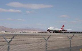 Virgin Atlantic 747 Airplane Landing in Las Vegas
