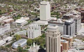 Aerial of downtown Salt Lake City in Ultra HD