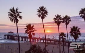 Timelapse at Manhattan Beach in California