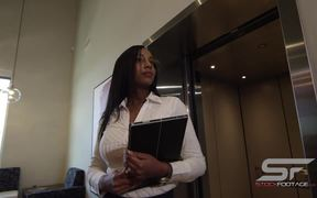 Elevator Door Opens and Woman Walks Out