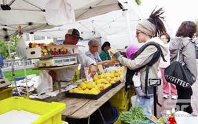 Buying Fruit at an Open Market in Slow Motion