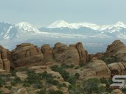 Sandstone Layers with the La Sal Mountains