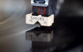 Rotating Vinyl Record Player Needle Close Up