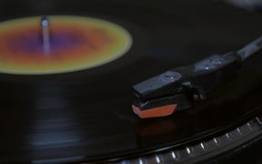 Close Up of Vinyl Needle Record in HD