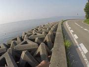 Walking Along a Seaside Road in Naruto City