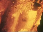 Hot Lava Flows Into The Ocean