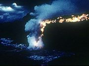 Hot Lava Flows Into The Ocean