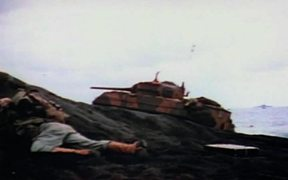 Iwo Jima - Armored Vehicles Move Inland