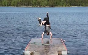 Crazy Guys Jumping Into Water