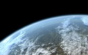 Flying over Planet Earth (artist's impression)