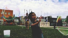 Giant Bubbles & Cute Kid