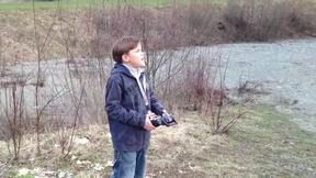 Kid Flying the Quadrocopter - Maiden Flight