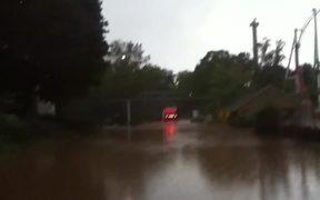 Truck Drives Through 1.5-meter High Flood