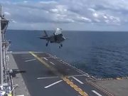 F-35B Lightning Makes Vertical Landing at Sea